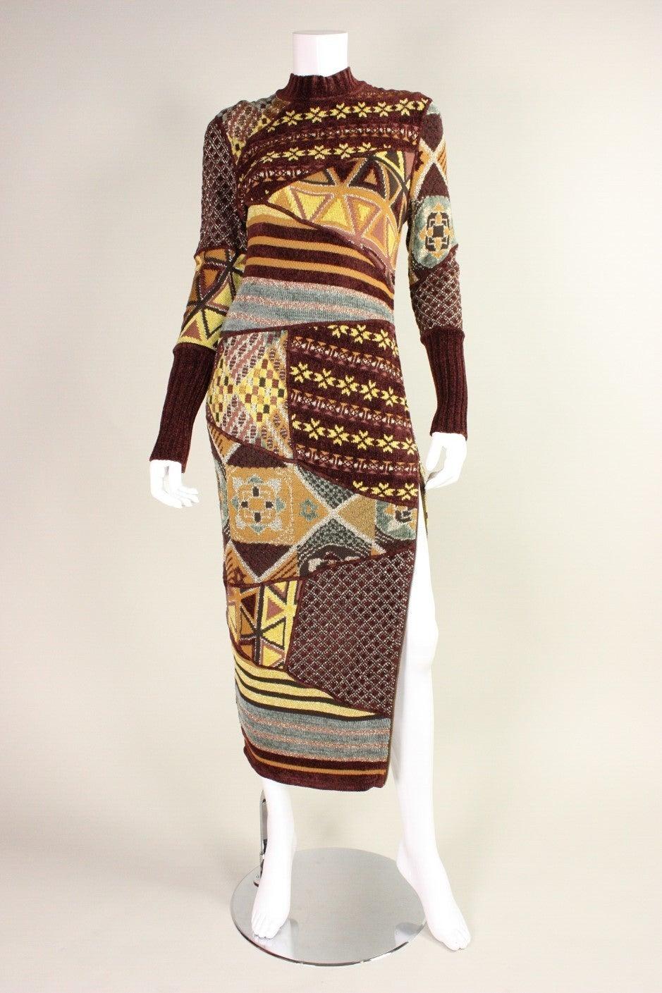 1990's Christian Lacroix Patchwork Knit Gown 2