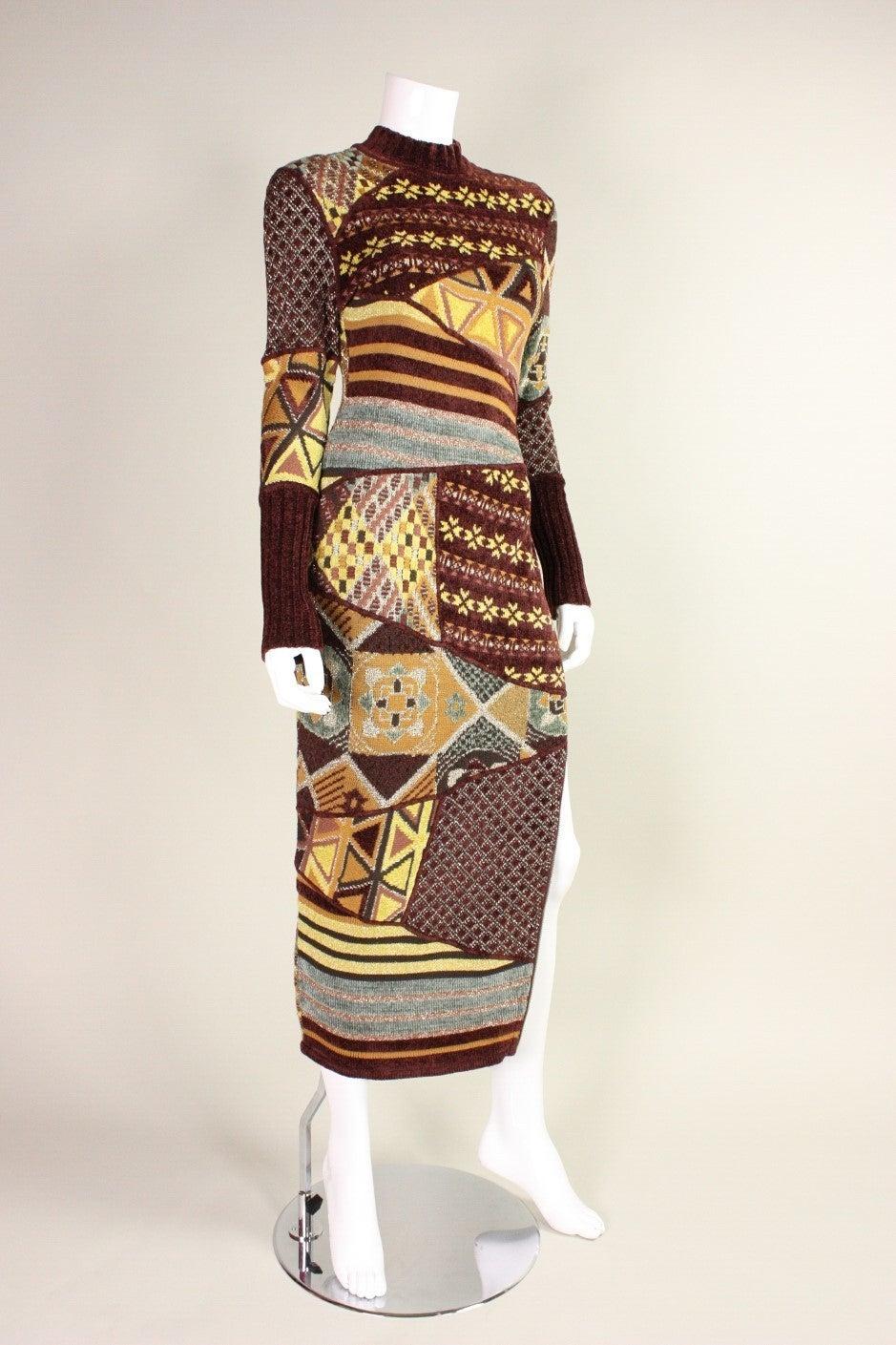 1990's Christian Lacroix Patchwork Knit Gown 3