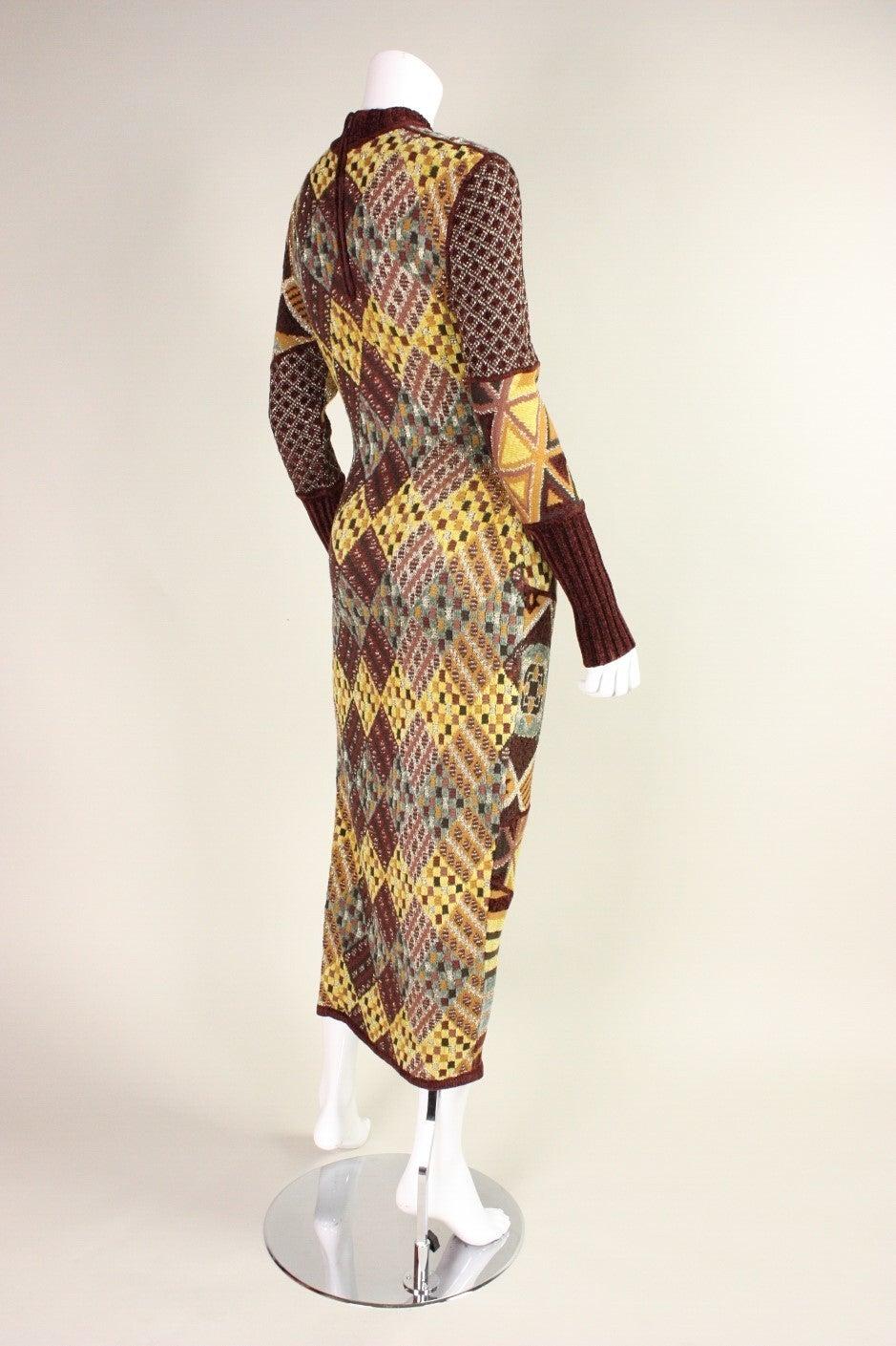 1990's Christian Lacroix Patchwork Knit Gown 4