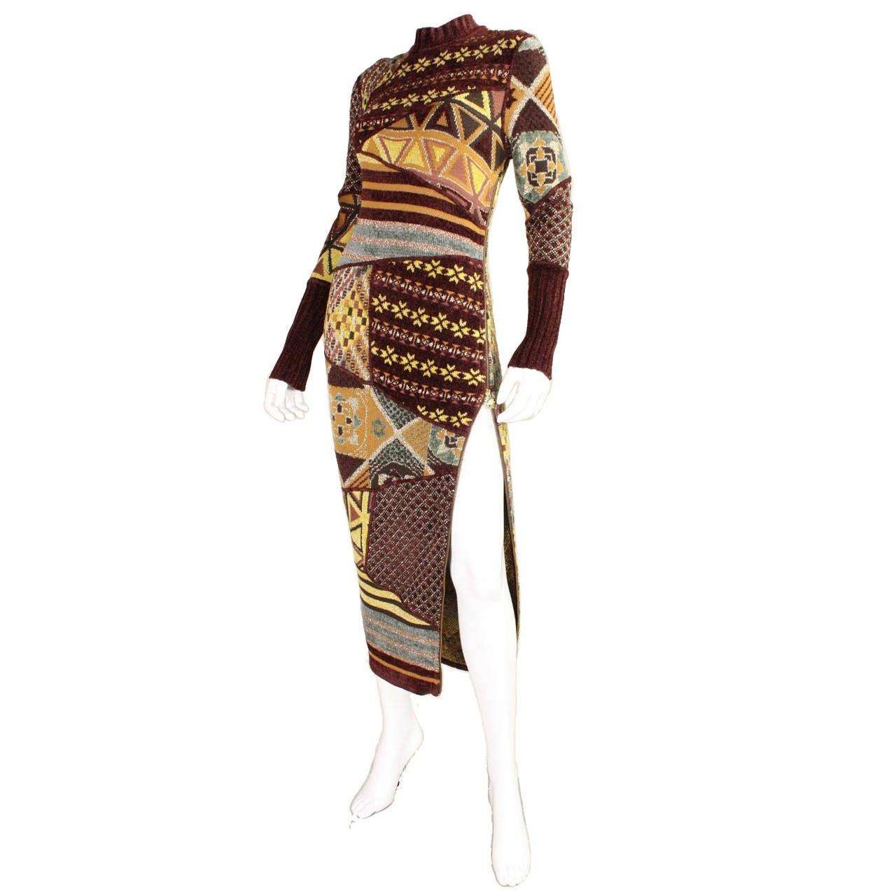 1990's Christian Lacroix Patchwork Knit Gown 1