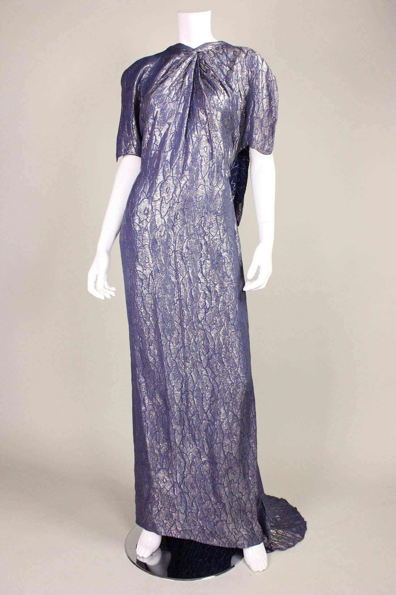 1930's Art Deco Lamé Gown with Train 4