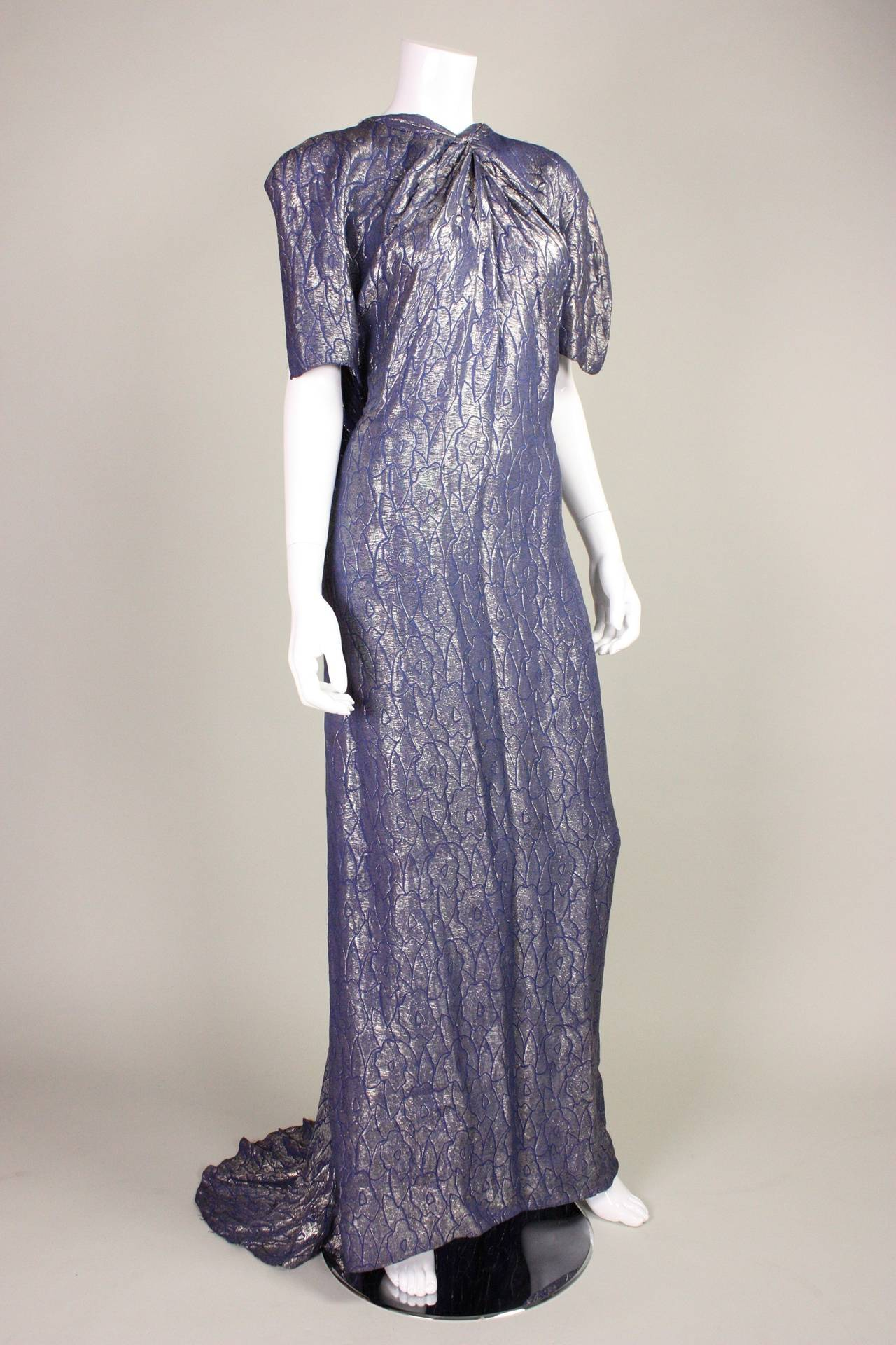 1930's Art Deco Lamé Gown with Train 5
