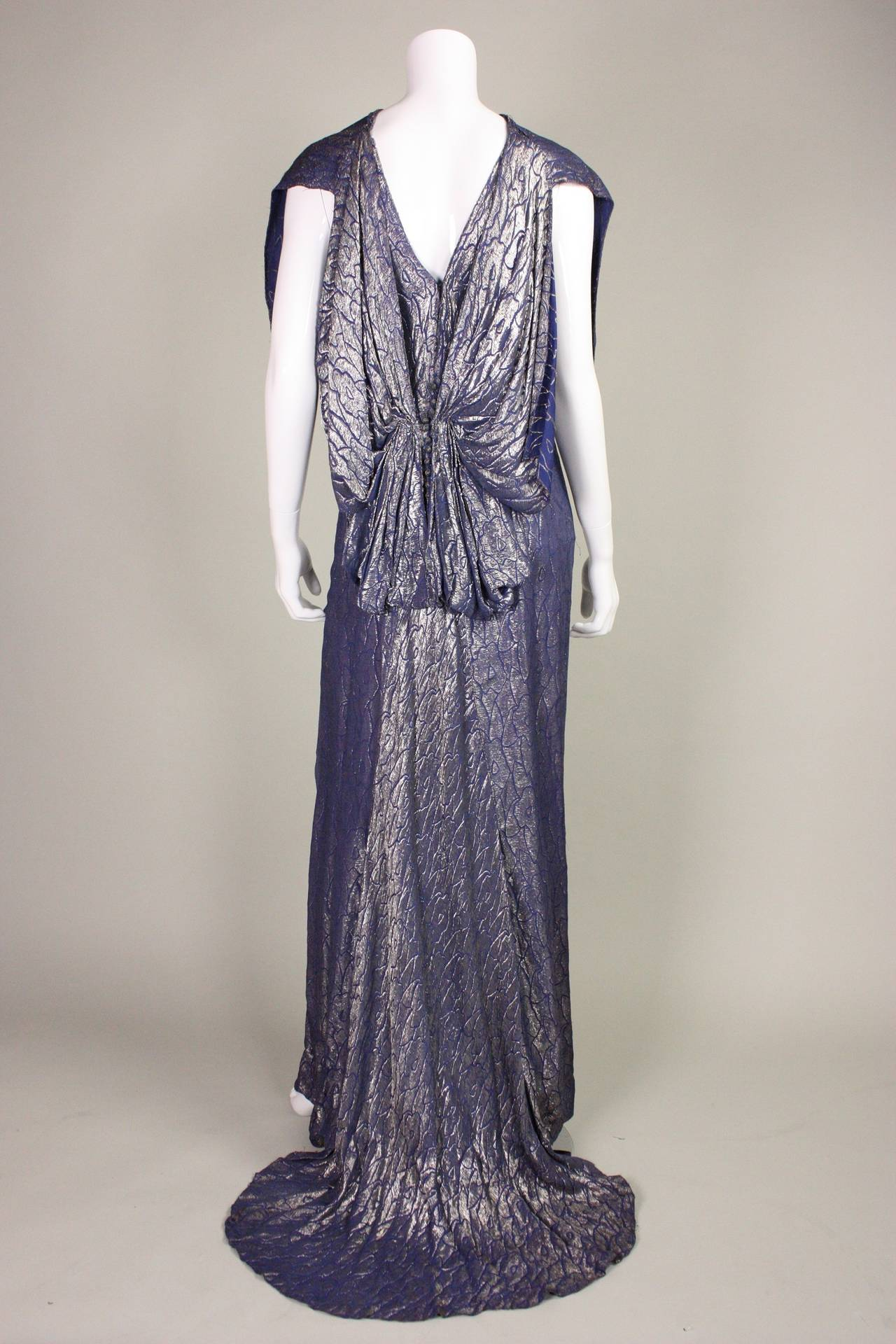 1930's Art Deco Lamé Gown with Train 2