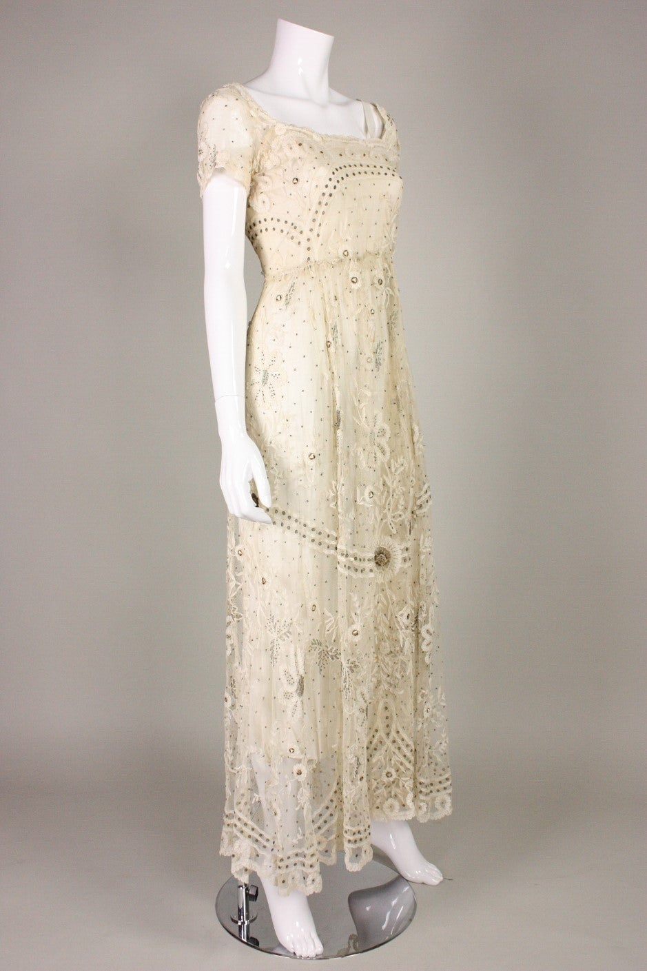 Edwardian Ivory Lace Tea-Length Gown 3