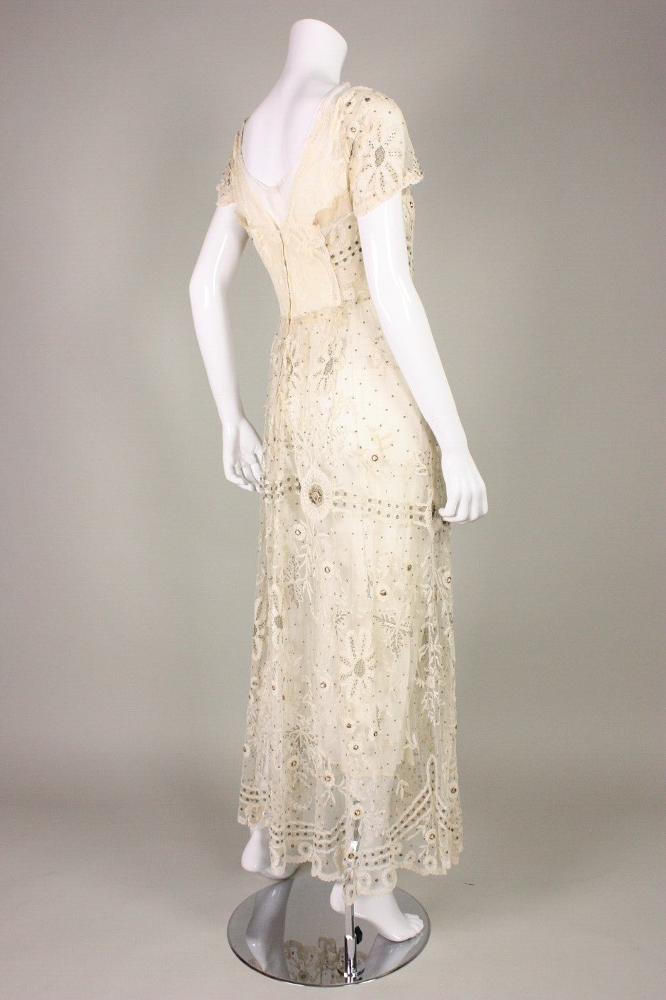 Edwardian Ivory Lace Tea-Length Gown 4
