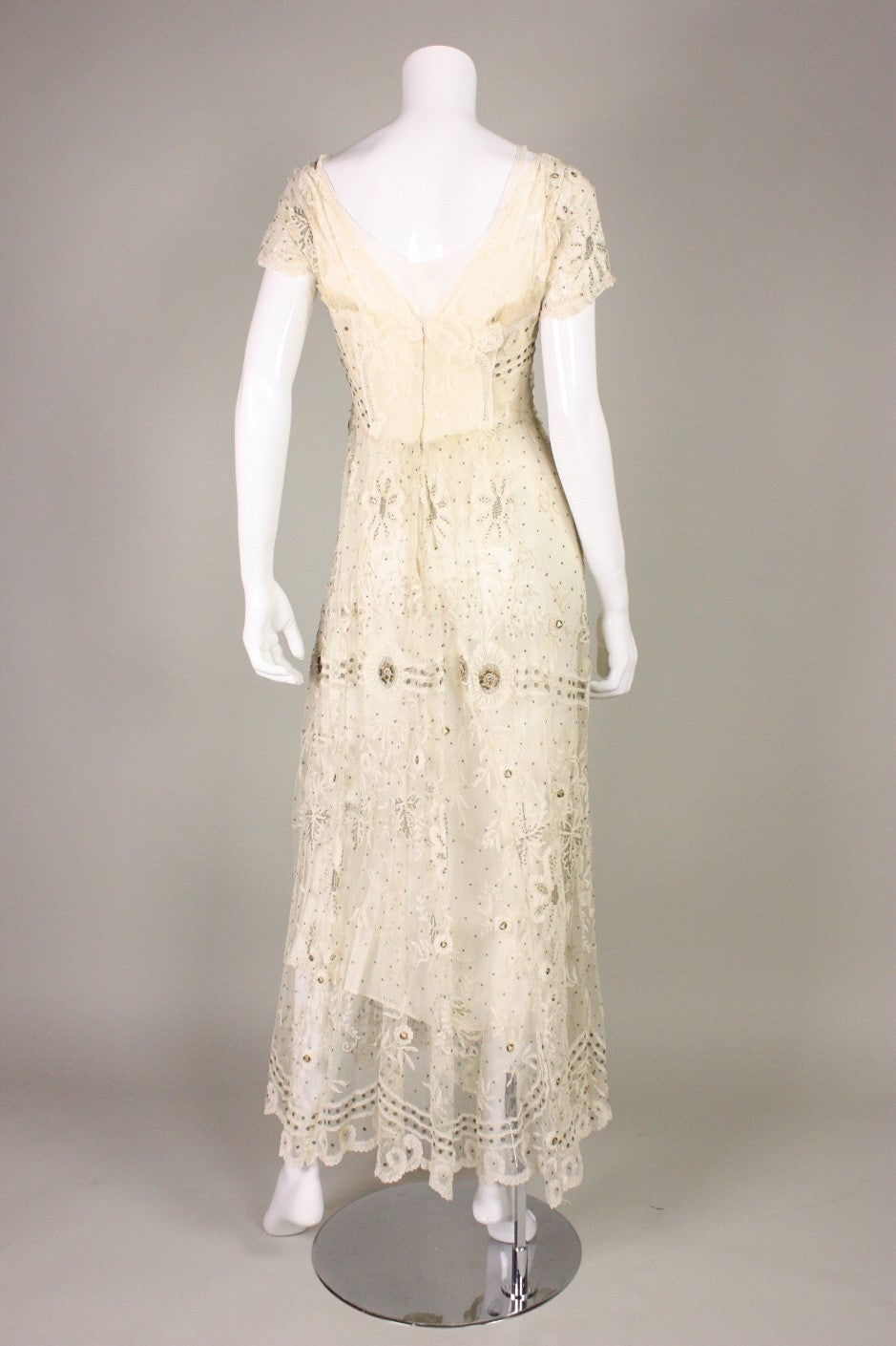Edwardian Ivory Lace Tea-Length Gown 5