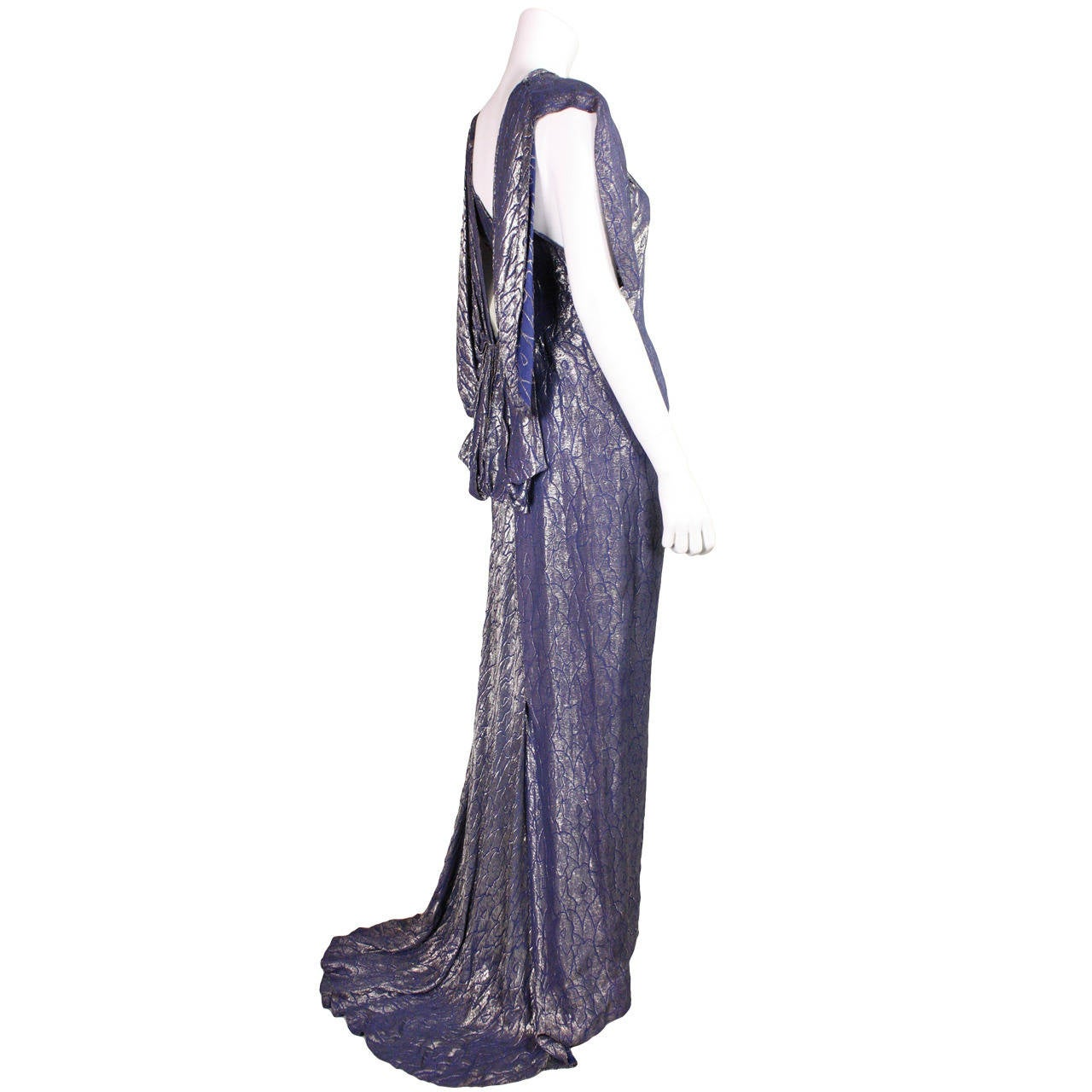 1930's Art Deco Lamé Gown with Train 1