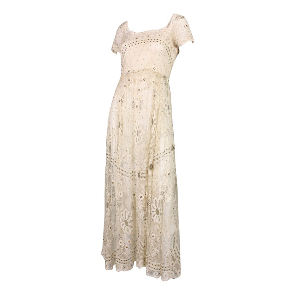 Edwardian Ivory Lace Tea-Length Gown 1