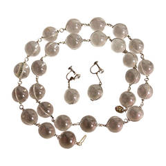 Art Deco Pools of Light Quartz Crystal Demi Parure