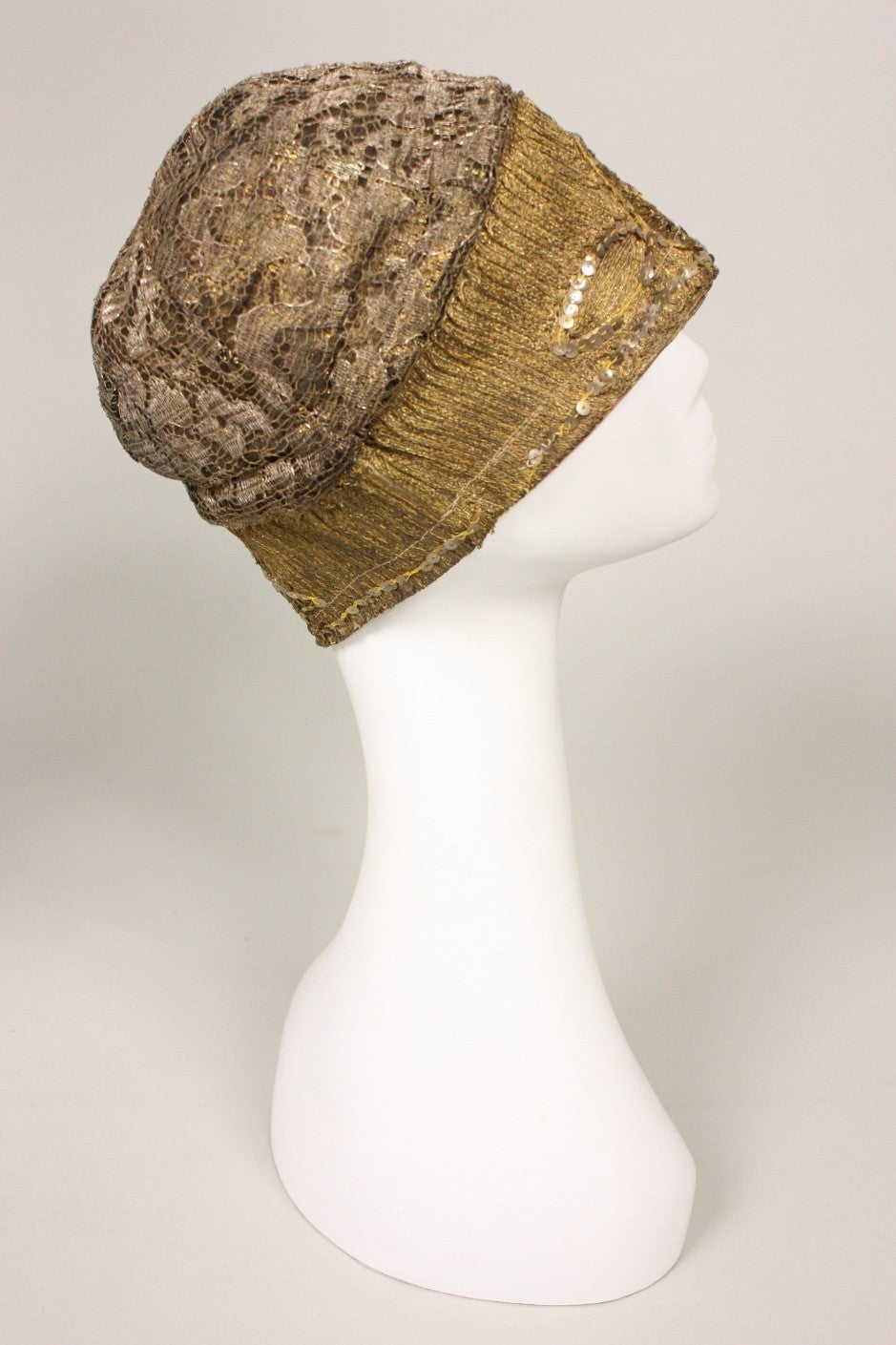 Brown 1920's Metallic Lace & Gold Bullion Cloche For Sale