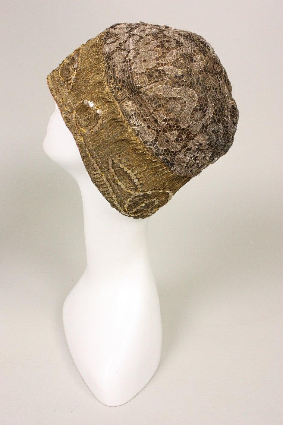 Women's 1920's Metallic Lace & Gold Bullion Cloche For Sale