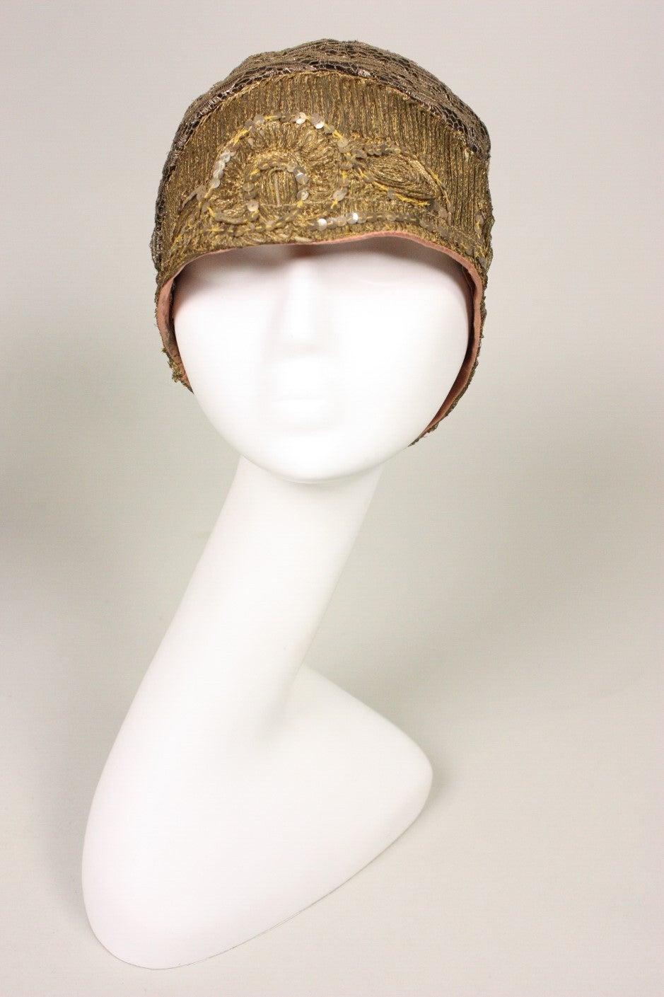 1920's Metallic Lace & Gold Bullion Cloche For Sale 1