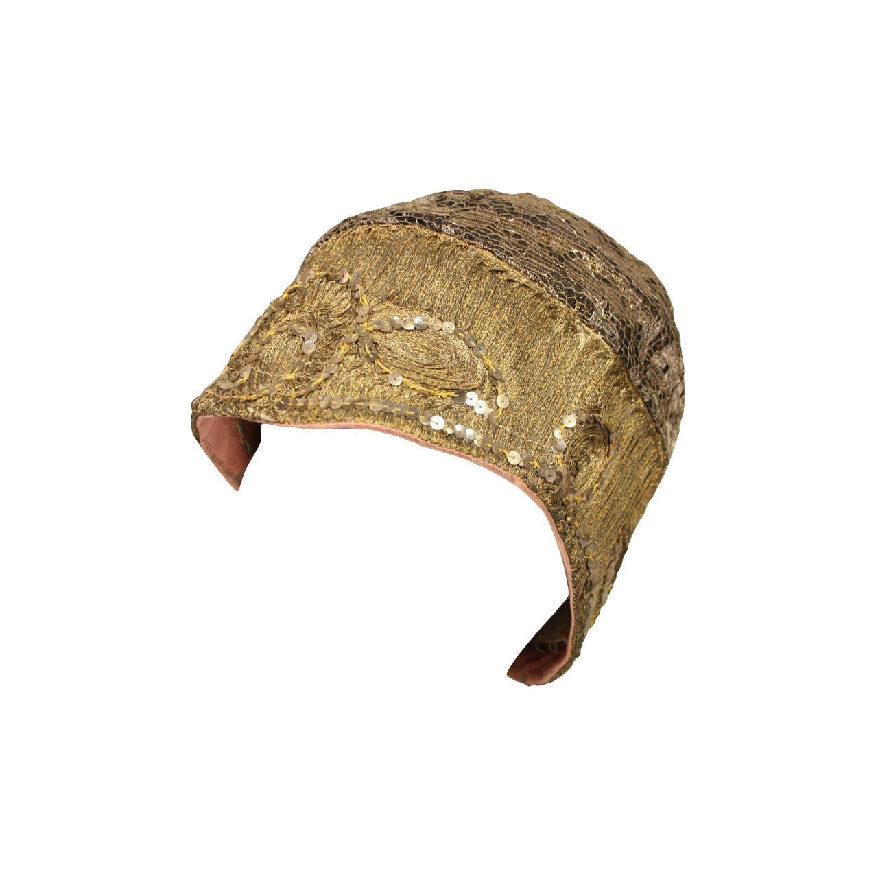 1920's Metallic Lace & Gold Bullion Cloche