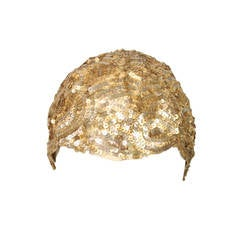 1930's Skull Cap Encrusted with Gold Sequins