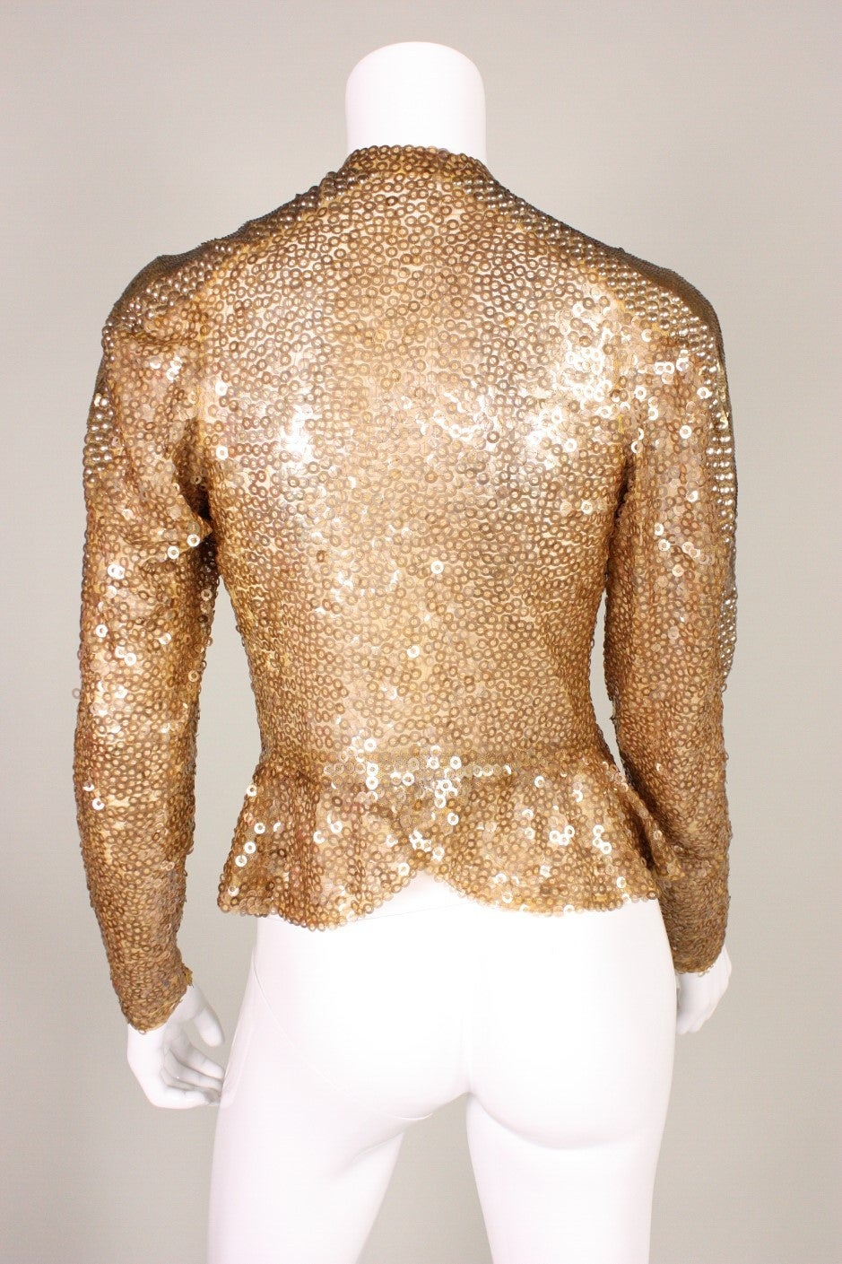 Women's 1930's Sparkling Gold Sequined Jacket For Sale