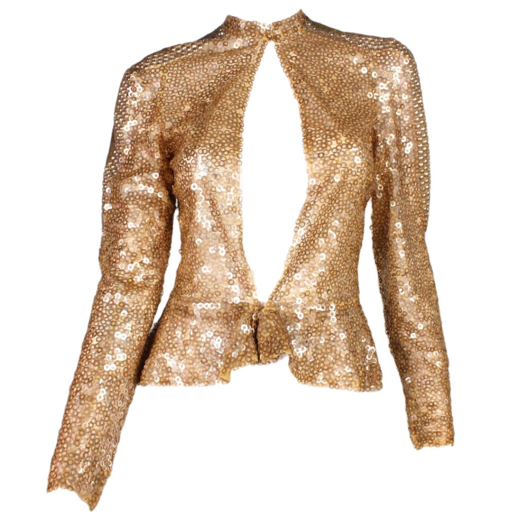 1930's Sparkling Gold Sequined Jacket For Sale