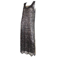 1920's Sequined & Beaded Dress with Lamé Slip