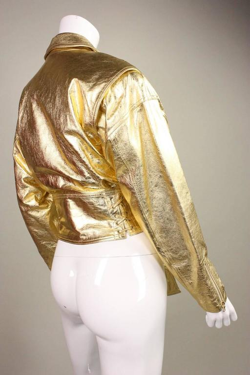 1990's Emanuel Ungaro Metallic Leather Bomber Jacket 3