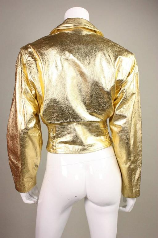 1990's Emanuel Ungaro Metallic Leather Bomber Jacket 4