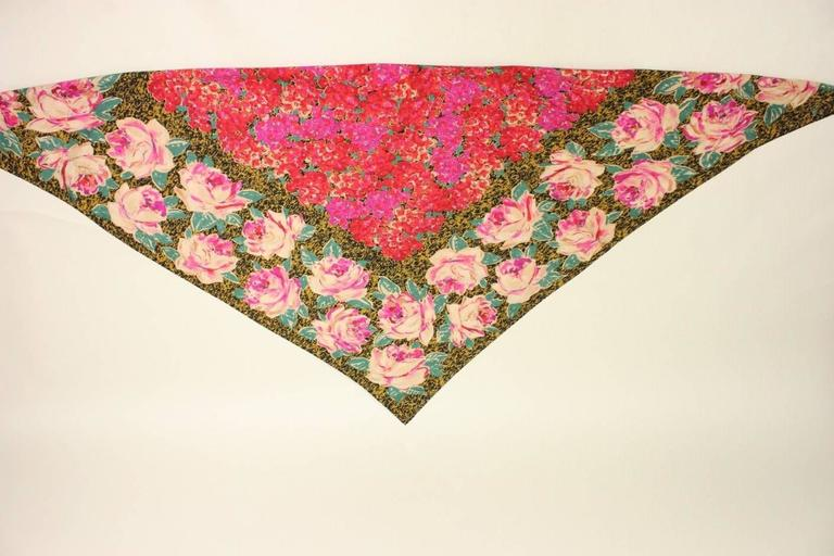 1980's Emanuel Ungaro Floral Shawl In Excellent Condition For Sale In Los Angeles, CA