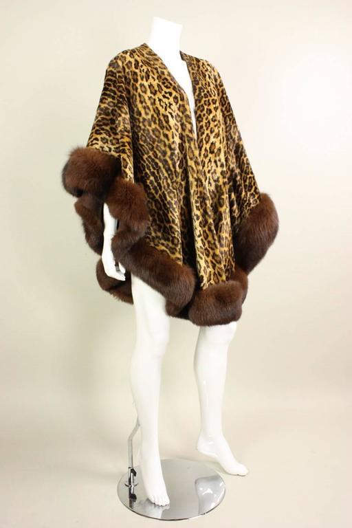 Adrienne Landau Leopard Print Cape With Fur Trim At 1stdibs