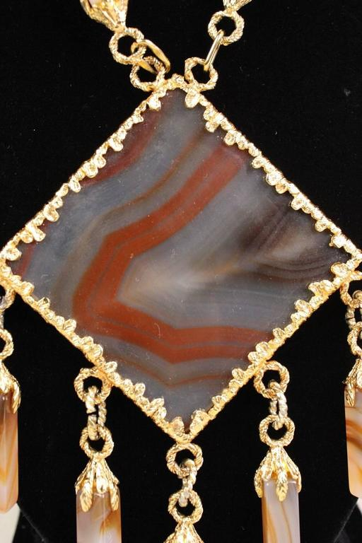 1970's Gold-Toned Agate Statement Necklace 3