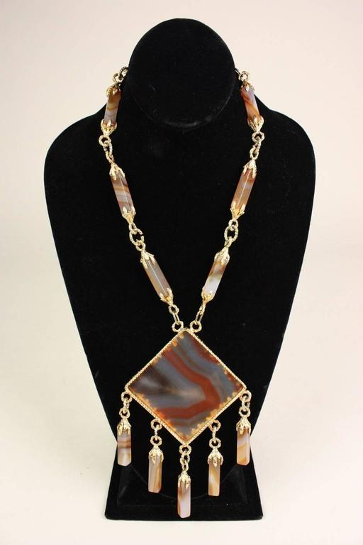 1970's Gold-Toned Agate Statement Necklace 2