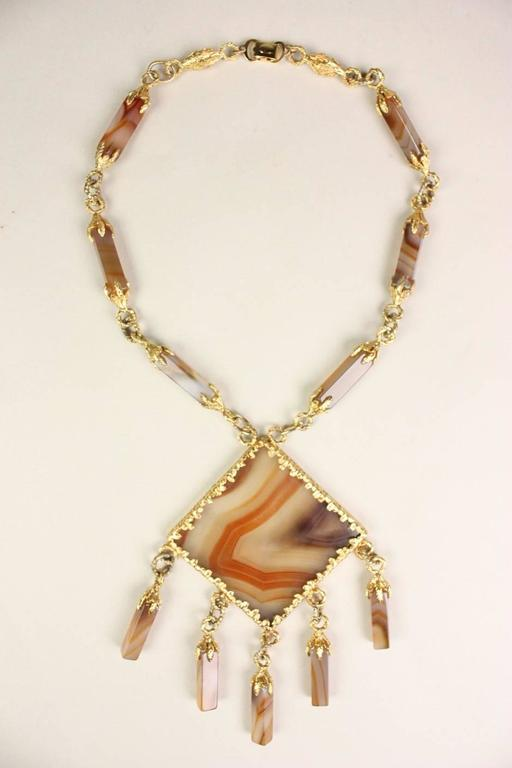 1970's Gold-Toned Agate Statement Necklace 6