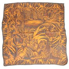 Yves Saint Laurent Chiffon Scarf with Leopard Print