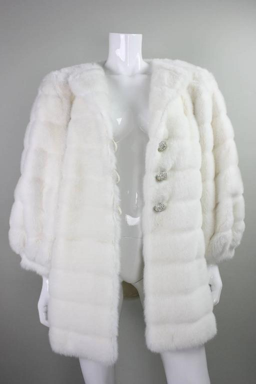 1980's Pauline Trigere Faux Fur Coat with Rhinestone Buttons 5