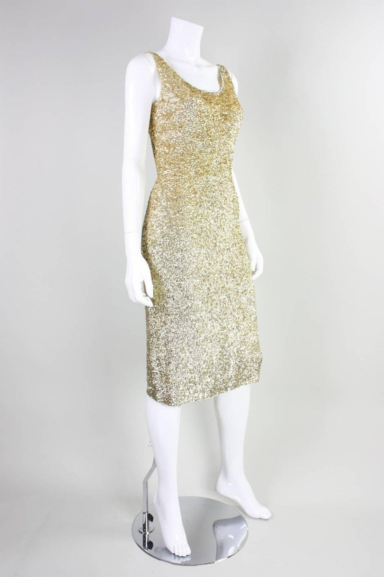 Brown Vintage Gene Shelly Gold Sequined Cocktail Dress For Sale