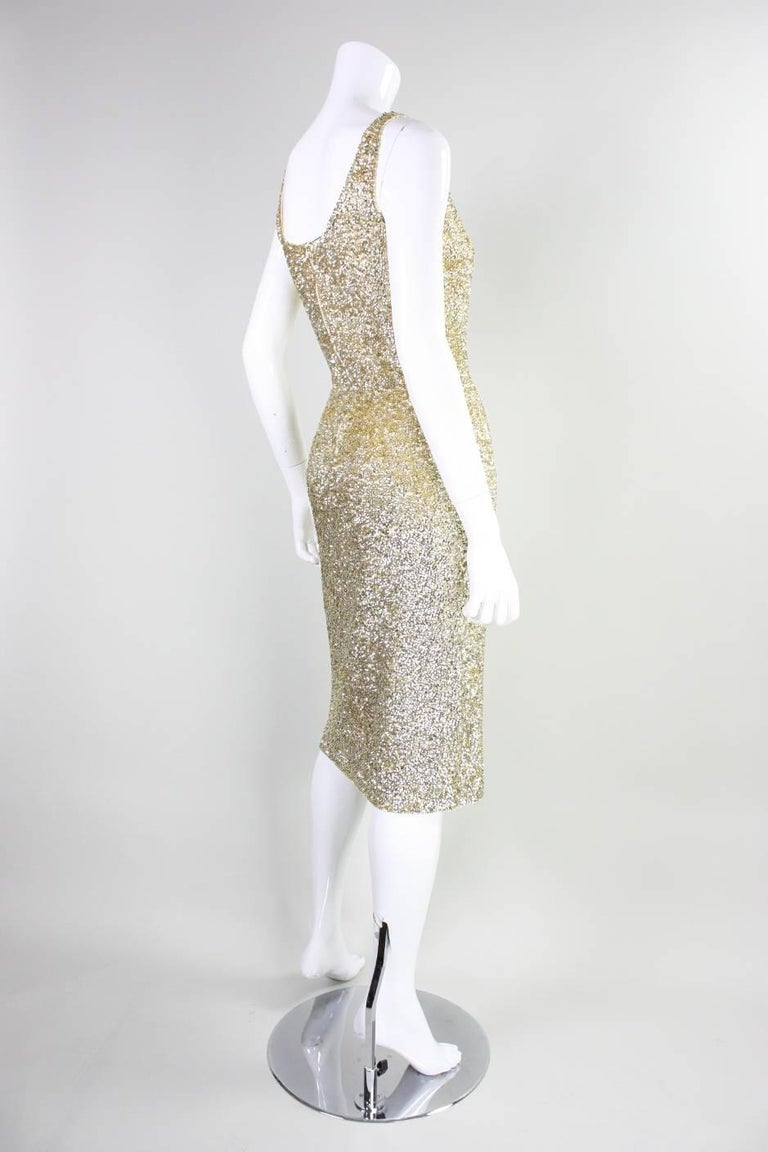 Vintage Gene Shelly Gold Sequined Cocktail Dress In Excellent Condition For Sale In Los Angeles, CA