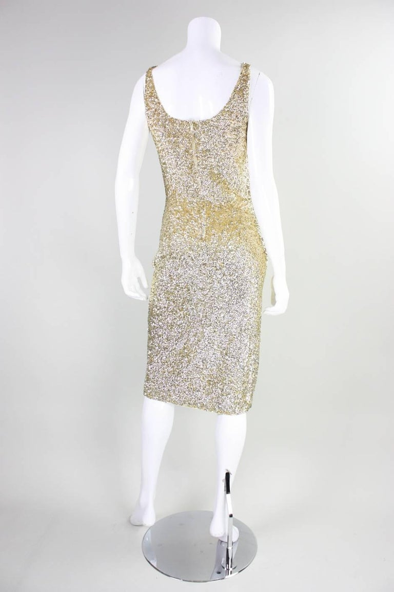Women's Vintage Gene Shelly Gold Sequined Cocktail Dress For Sale