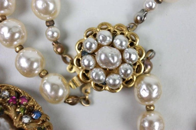 Miriam Haskell Baroque Pearl & Rhinestone Necklace 6