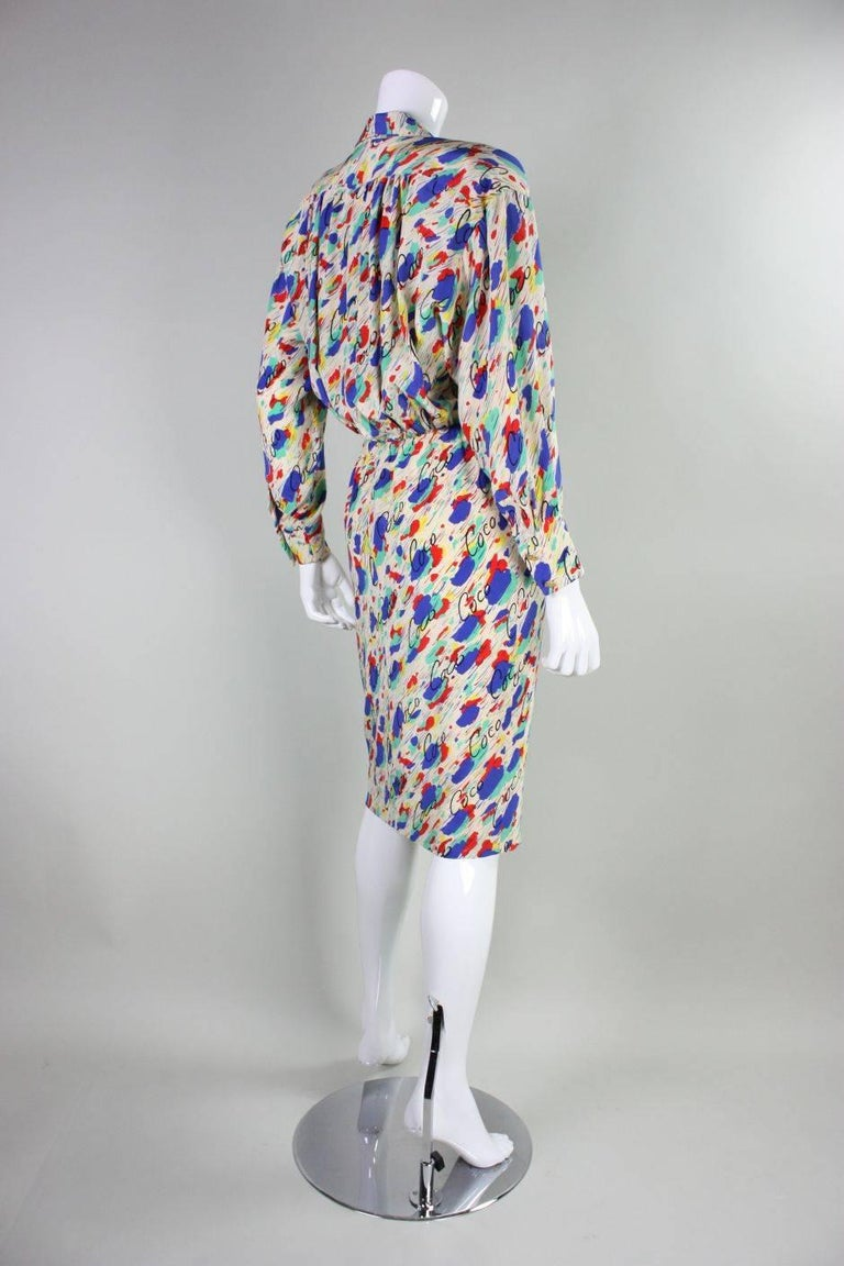 1980's Chanel Silk Dress with Painterly Coco Print In Excellent Condition For Sale In Los Angeles, CA