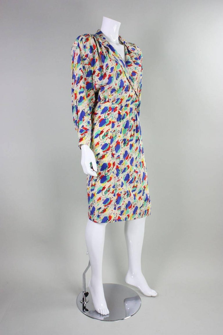 Gray 1980's Chanel Silk Dress with Painterly Coco Print For Sale