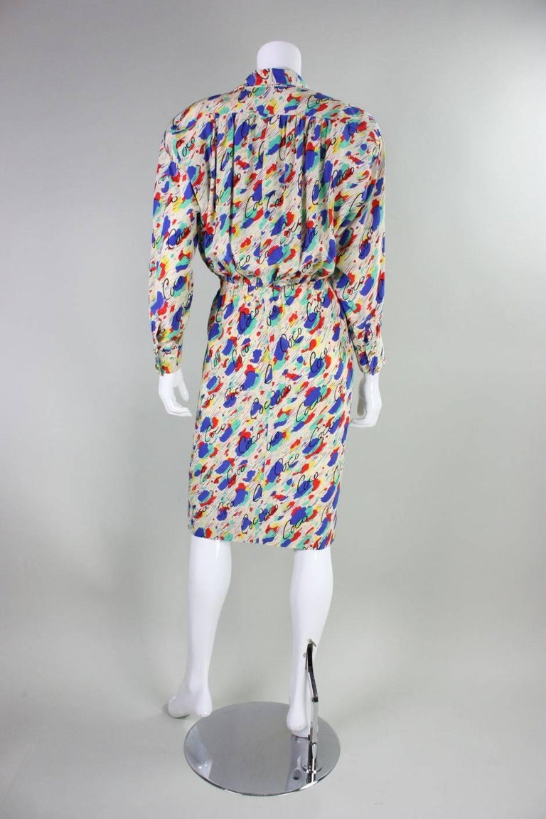 Women's 1980's Chanel Silk Dress with Painterly Coco Print For Sale
