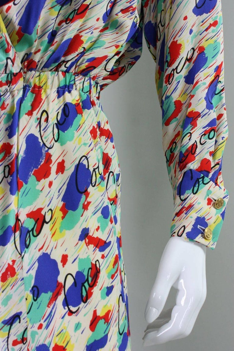 1980's Chanel Silk Dress with Painterly Coco Print For Sale 2