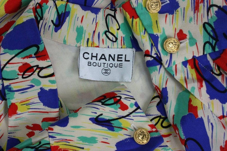 1980's Chanel Silk Dress with Painterly Coco Print For Sale 3