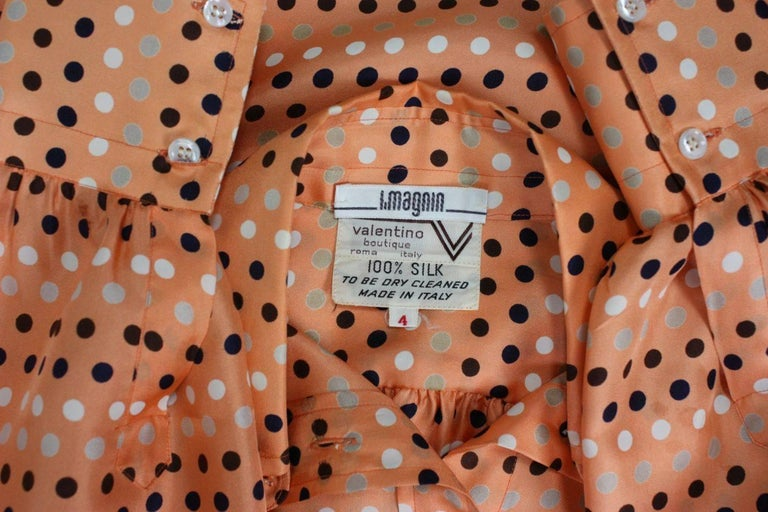 1970's Valentino Polka-dotted Silk Blouse with Sash For Sale 4