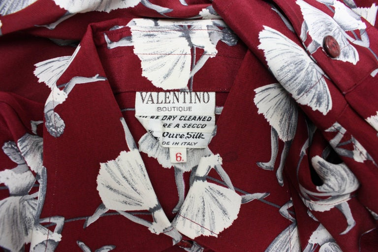 1970's Valentino Silk Blouse with Ballerina Print For Sale 4