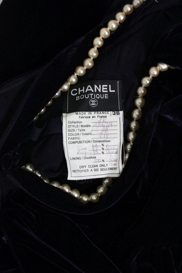 1990's Chanel Velvet Gown with Pearl Detailing For Sale 3