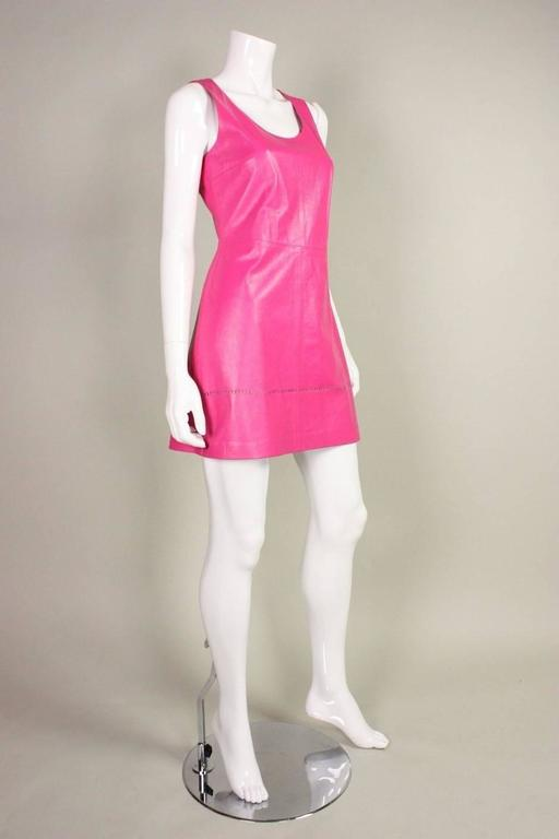 1990's Versus Pink Leather Dress 3
