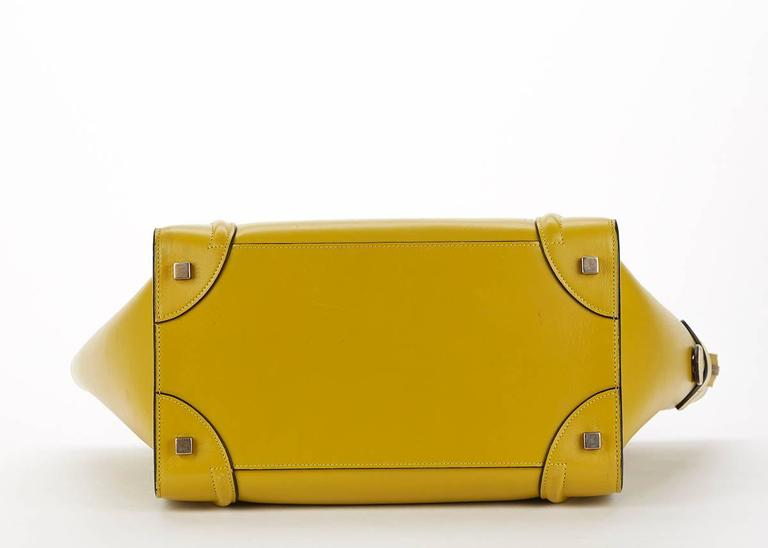 2014 Céline Chartreuse Yellow Smooth Calfskin Mini Luggage Tote 5