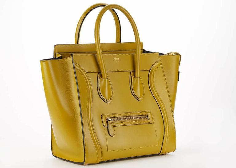 2014 Céline Chartreuse Yellow Smooth Calfskin Mini Luggage Tote 2