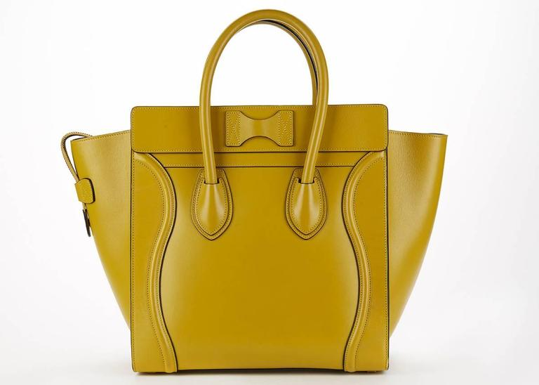 2014 Céline Chartreuse Yellow Smooth Calfskin Mini Luggage Tote 3