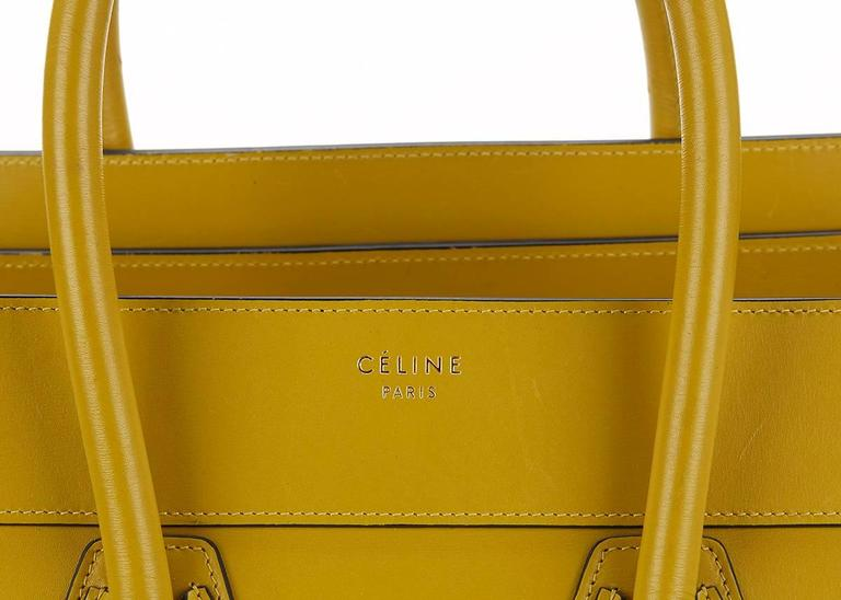 2014 Céline Chartreuse Yellow Smooth Calfskin Mini Luggage Tote 6