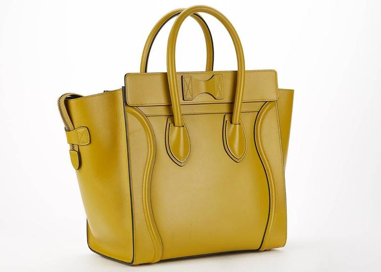 2014 Céline Chartreuse Yellow Smooth Calfskin Mini Luggage Tote 4
