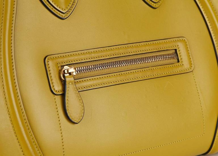 2014 Céline Chartreuse Yellow Smooth Calfskin Mini Luggage Tote 7
