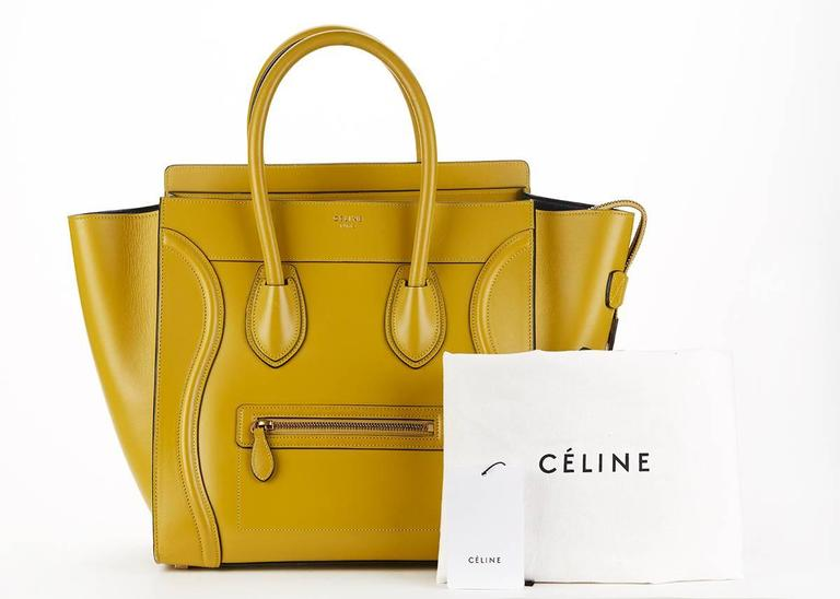 2014 Céline Chartreuse Yellow Smooth Calfskin Mini Luggage Tote 10